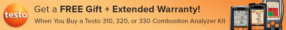 Get a free gift and extended warranty when you buy a Testo 310, 320, or 330 combustion analyzer