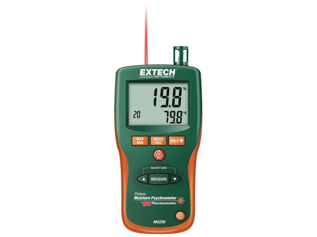 Extech MO295 Pinless Moisture Psychrometer   IR Thermometer
