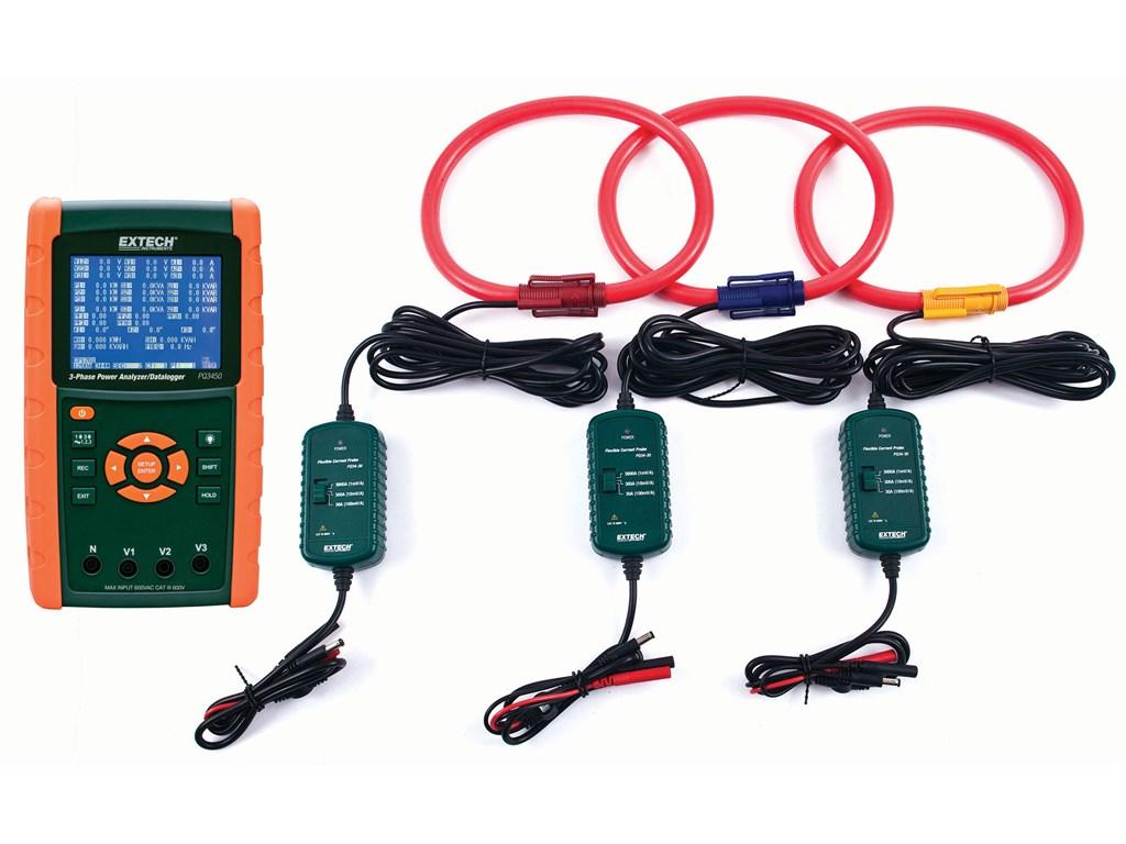 Extech PQ3450-30 3-Phase Power Analyzer/Data Logger Kit (3000A)