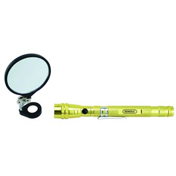 General Tools 91557 Lighted Magnetic Telescoping Pick-Up with Large Round Mirror