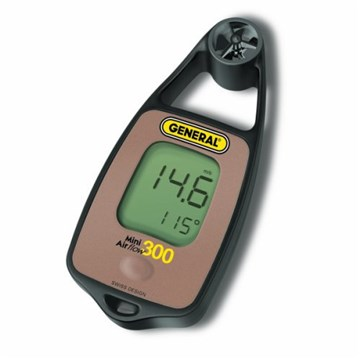 General DAF3300 Mini Airflow / Temperature Meter With Wind Chill and Compass