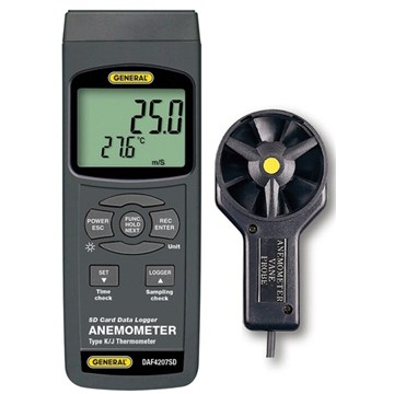 General DAF4207SD Anemometer-Thermometer With Excel-Formatted Data Logging SD Card