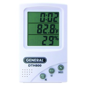 General DTH800 Digital Temperature And Humidity Meter With Clock