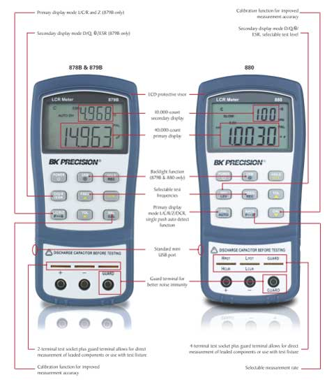 B/&k Precision 878B Dual Display Handheld Universal LCR Meter for sale online